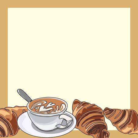 Cup of coffee or cappuccino with croissants. Empty frame template. Vector illustration