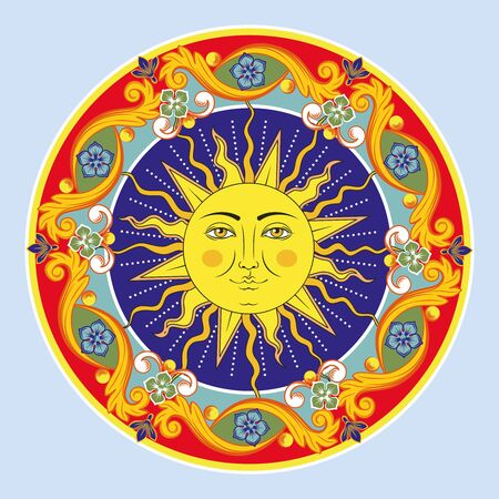 Colorful ethnic round ornamental mandala. Sun with human face. Oriental arabesque pattern background. Vector illustration. Ilustração