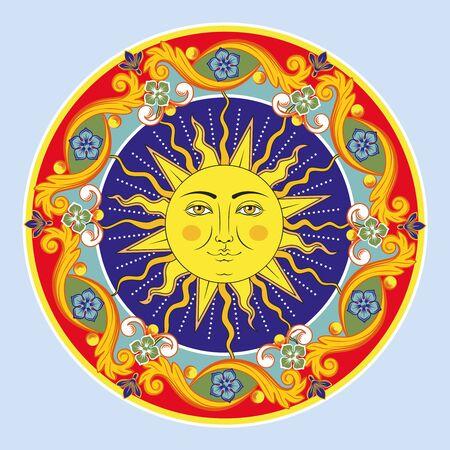 Mandala ornamentale rotondo etnico colorato. Sole con volto umano. Priorità bassa del reticolo di arabesco orientale. Illustrazione vettoriale.