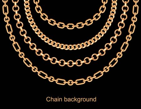 Background with chains golden metallic necklace. On black. Vector illustration