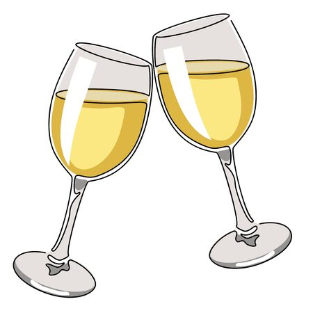 Colored continuous line drawing. Glasses of white wine. Vector illustration Illusztráció