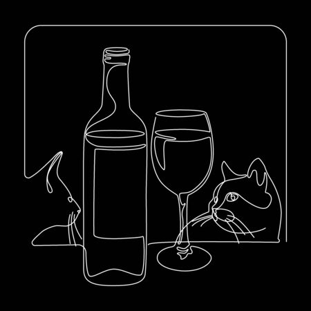 Continuous line drawing. Bottle and glass of wine. Cats. Vector illustration