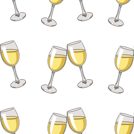 Seamless pattern background with glasses of white wine. Vector illustration