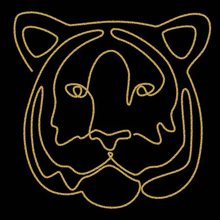Continuous line drawing. Tiger head. Vector illustration. Gold glitter texture on black background. Иллюстрация