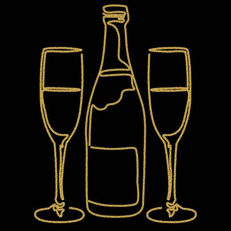 Festive design with gold glitter texture element. Bottle and glasses of champagne wine on black background. Holidays vector illustration for calendar, party invitation, card, poster, banner web