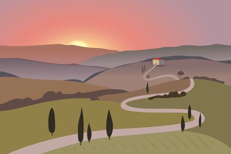 Rural landscape with mountains and hills. Sunset. Tuscany, outdoor recreation background. Иллюстрация