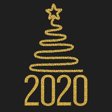 Happy new 2020 year. Festive design with gold glitter date and Christmas tree on black background. Holidays vector illustration