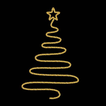 Festive design with gold glitter texture element. Christmas tree on black background. Holidays vector illustration for calendar, party invitation, card, poster, banner web