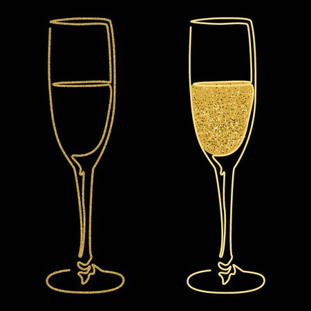 Festive design with gold glitter texture element. Glasses of champagne wine on black background. Holidays vector illustration for calendar, party invitation, card, poster, banner web Vector Illustration