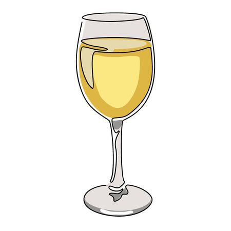 Colored continuous line drawing. Glass of white wine. Vector illustration. Иллюстрация