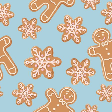 Christmas gingerbread seamless pattern.