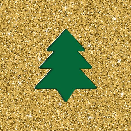 Layered cut out paper greeting card with Christmas with glitter texture effect. Vector illustration