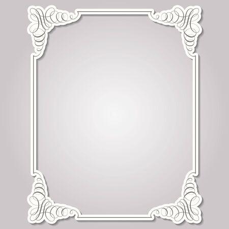 Square frame in calligraphic retro style. Vector illustration.