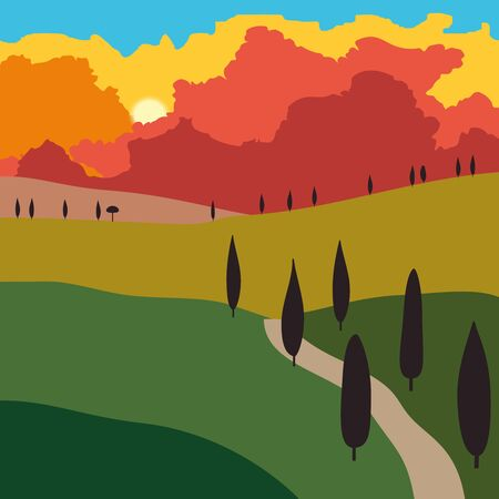 Rural landscape with mountains and hills. Sunset. Outdoor recreation background. Vector illustration.. Иллюстрация