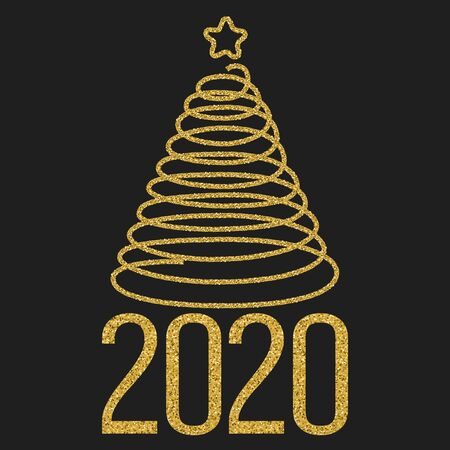 Happy new 2020 year. Festive design with gold glitter texture date and Christmas tree on black Иллюстрация