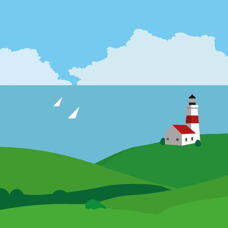 Landscape with sea, a lighthouse and yachts. Vector illustration.