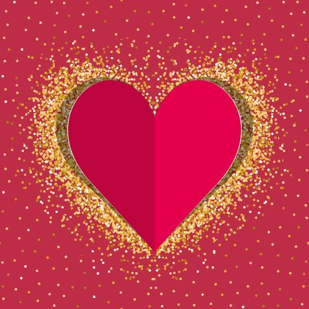Red paper love heart with gold shimmer Иллюстрация