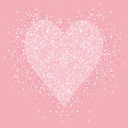 Pastel pink glitter heart . Shimmer love background. Иллюстрация
