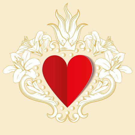 Red paper love heart with ornamental floral decoration. Vector illustration. St Valentine. Beautiful design element for t-shirt design, save the date, wedding invitations, greeting cards