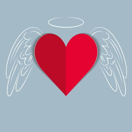 Red paper love heart with hand drawn wings and angel halo