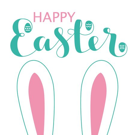 Happy Easter card with bunny ears and lettering. Vector illustration.