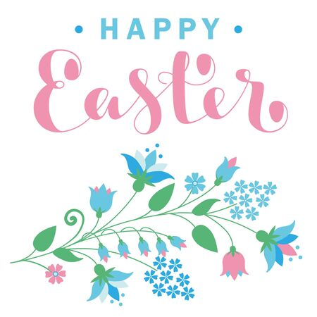 Happy Easter card with flowers and lettering. Vector illustration