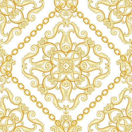 Seamless damask pattern. Golden beige on white texture with chains. Vector illustration.