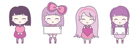 Set collections of cute girls holding hearts and frames.