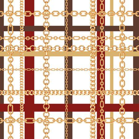 Gold chains tartan seamless pattern. Vector illustration