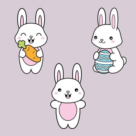 Set collection. Kawaii cute white bunny with carrot and easter egg. Vector illustration.