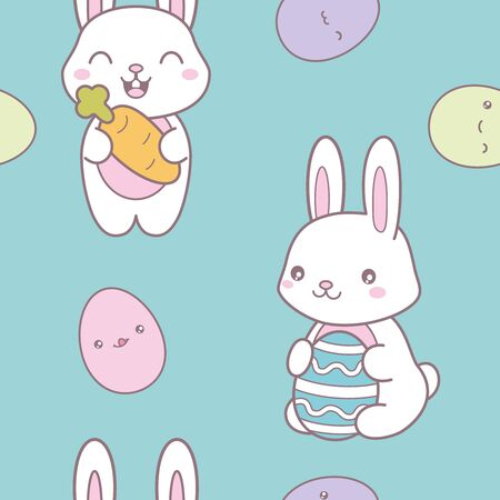 Kawaii easter seamless pattern with a cute bunny.