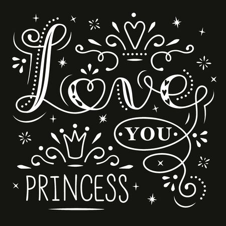 Love you Princess lettering isolated on black. Vector illustration. For Valentines Day greeting cards, love posters and banners Иллюстрация
