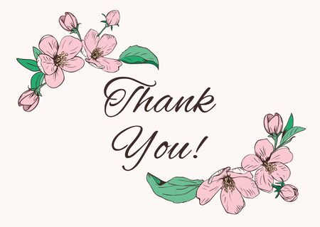 Card template with text. Floral corners and sample text Thank you Иллюстрация