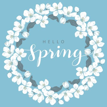 Cherry blossom round frame with hello Spring lettering on a blue background Иллюстрация