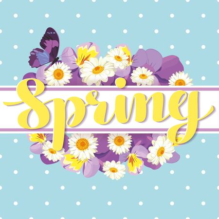 Floral card template with calligraphic text Spring on the white ribbon