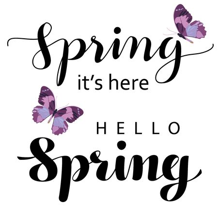 alligraphic lettering Spring. With butterflies. Isolated on a white background. Set collection for design. Vector illustration.