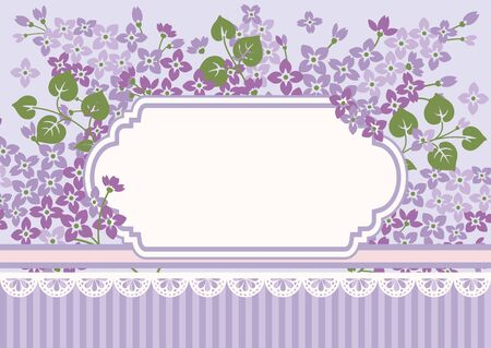 Shabby chic background, lilac flowers with vintage empty frame. Floral card template. Vector illustartion.