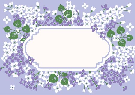 Greeting background, lilac flowers with vintage empty frame. Floral card template. Vector illustartion.