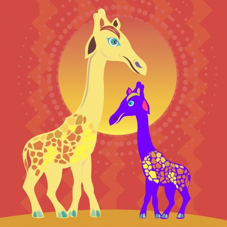 two giraffes in the sun Vector