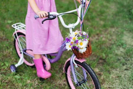 Little girl is riding on lilac bicycle with wicker basket with bouquet of summer flowers. Kid is wearing in pink dress and rubber boots. Child is playing in park. 写真素材 - 135005839