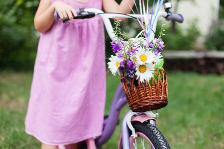 Little girl holds lilac bicycle with wicker basket with bouquet of summer flowers. Kid is wearing in pink dress. Child is playing in backyard garden. 写真素材