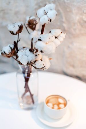 Still life with cotton flowers and cup of coffee in cozy cafe.