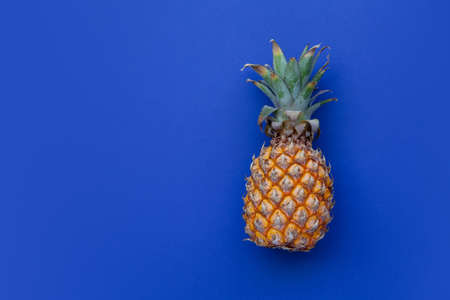 Summer scene. Pineapple on blue background. Concept of holiday on beach, travel, minimalist bright colors, summertime. Flat lay. Copy space