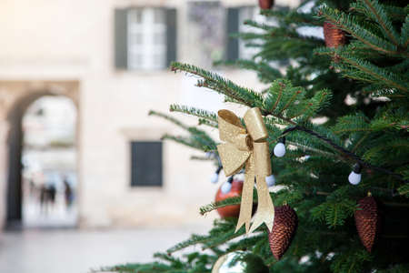 Christmas tree with golden bows and street decoration outside in old town with ancient architecture. Authentic festive atmosphere in Dubrovnik, Croatia. 写真素材