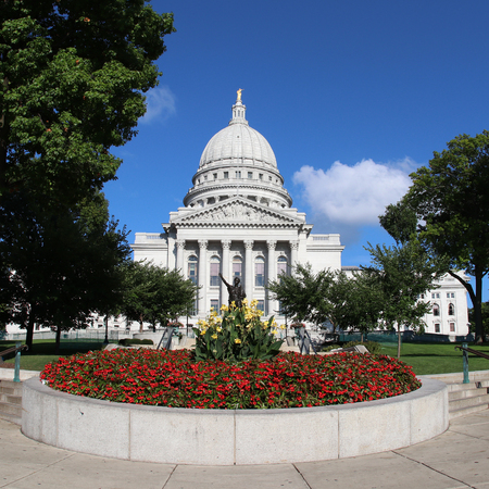 Wisconsin State Capitol building, National Historic Landmark. Madison, Wisconsin, USA. Square composition.