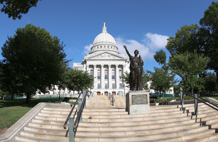 Wisconsin State Capitol building, National Historic Landmark. Madison, Wisconsin, USA. Horizontal composition, fish eye lens.