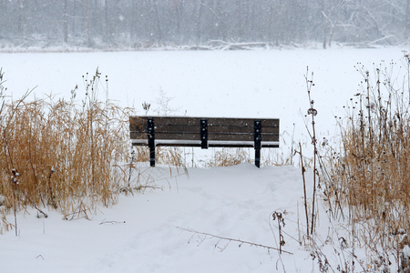 Rural landscape with footprints on the fresh snow and dry grass on a foreground and lonely bench in front of frozen lake on a falling snow background.