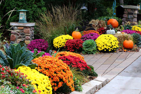Colors of autumn background. Bright colors fall season outdoor decoration with potted chrysanthemums and unusual pumpkins on the hay bricks as a part of traditional American autumn holidays culture.
