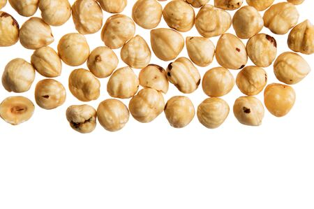 Top view, flat lay. Hazelnut nuts isolated on white background. Close up, macro. Copy space.