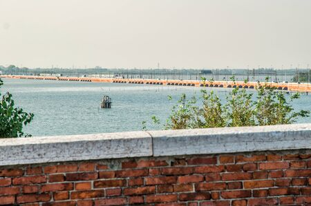 Venice, Italy. The bridge della Liebert connects the mainland and the island of Venice. Across the bridge, tracks for monorail, cars, subways are laid. 版權商用圖片